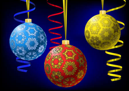 Three multicolored christmas-balls with snowflakes texture and metallic serpentine on abstract dark background. Greeting card.  illustration. Gradient mesh in background only include. Vector
