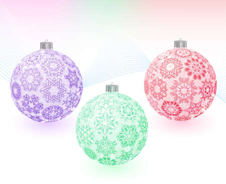 Set of three transparent multicolored christmas-balls with snowflakes texture on abstract light background. Greeting card. illustration. Gradient mesh in background only include. Vector