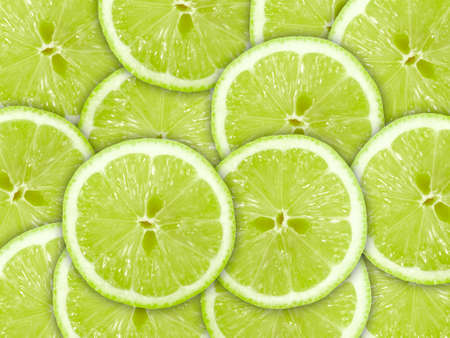 Abstract green background with citrus-fruit of lime slices. Close-up.