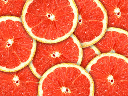 Abstract red background with citrus-fruit of grapefruit slices. Close-up.