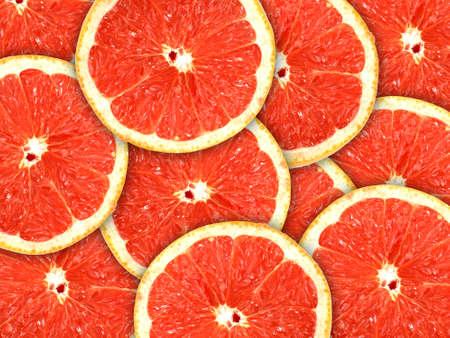 toronja: Fondo rojo abstracto con c�tricos de rodajas de pomelo. Close-up.