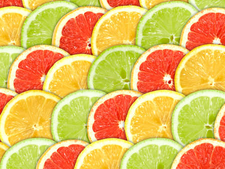 Abstract three-color background with citrus-fruit of grapefruit, orange and lemon slices. Close-up.  Stock Photo