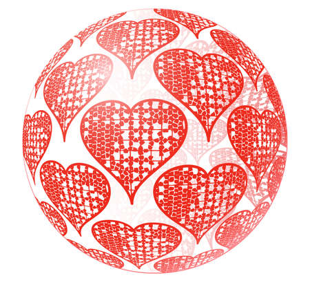 elebration: Valentines day abstract glass sphere with red ornament of heart symbols isolated on white background. Vector illustration. Illustration