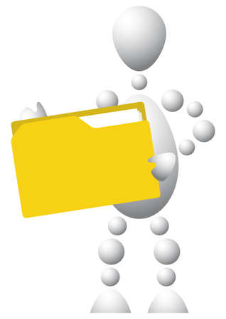 Man with yellow folder. Abstract 3d-human series from balls. Variant of white isolated on white background. A fully editable vector illustration for your design. Vector