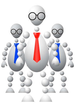 bureaucrat: Group of three mans in ties and round glasses. Abstract 3d-human series from balls. Variant of white isolated on white background. A fully editable vector illustration for your design.