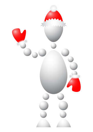 Man in christmas-clothing with arm raised. Abstract 3d-human series from balls. Variant of white isolated on white background. A fully editable vector illustration for your design. Vector