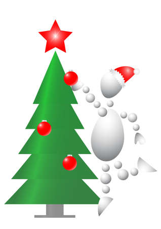 Man decorate christmas fur-tree. Abstract 3d-human series from balls. Variant of white isolated on white background. A fully editable vector illustration for your design. Stock Vector - 8468946