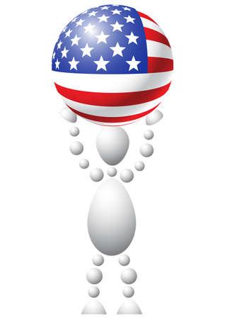 estados unidos bandera: Hombre con bola como bandera de Estados Unidos. Serie de 3d-humanos abstracta de bolas. Variante de blanco aislado sobre fondo blanco. Una ilustraci�n vectorial completamente editable para su dise�o. Vectores