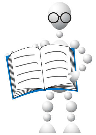 Man in glasses with blue book. Abstract 3d-human series from balls. Variant of white isolated on white background. A fully editable vector illustration for your design. Stock Vector - 8468952