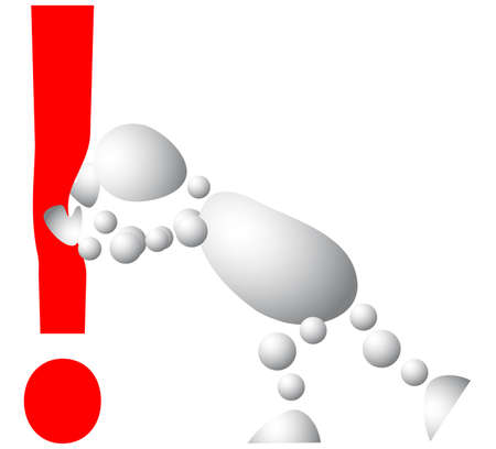 pushes: Man pushes an red exclamation mark. Abstract 3d-human series from balls. Variant of white isolated on white background. A fully editable vector illustration for your design. Illustration