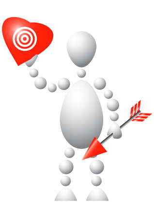 Man with red heart and arrow. Abstract 3d-human series from balls. Variant of white isolated on white background. A fully editable   illustration for your design. Stock Vector - 8466542