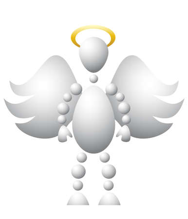 nimbus: Man as saint angel with wings and golden nimbus. Abstract 3d-human series from balls. Variant of white isolated on white background. A fully editable  illustration for your design.