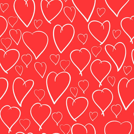 Valentine's day red abstract background with white hearts. Seamless pattern. Vector illustration. Stock Vector - 8485911