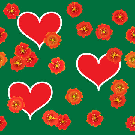 Valentine's day abstract green background with red hearts and orange flowers. Seamless pattern. Vector illustration. Stock Vector - 8485914