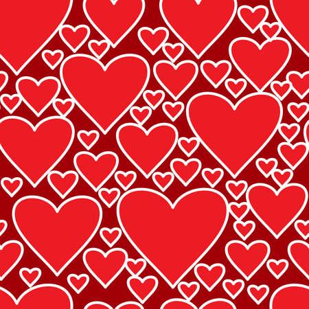 Día de San Valentín del fondo rojo abstracto con corazones. Patrón transparente. Ilustración vectorial. Foto de archivo - 8485916