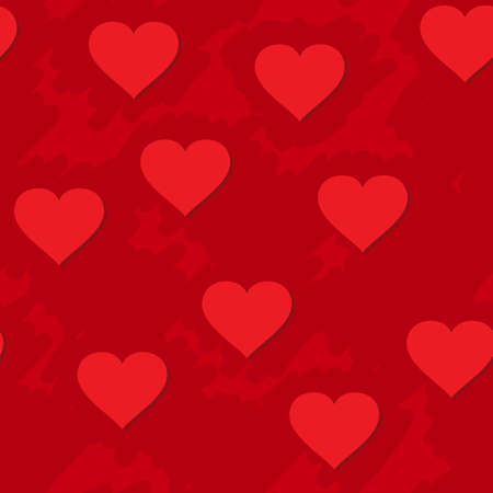 Valentine's day abstract red grunge background with hearts. Seamless pattern. Vector illustration. Stock Vector - 8485913