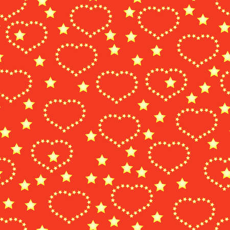 Valentines day red abstract background with golden hearts and stars. Seamless pattern. Vector illustration. Vector