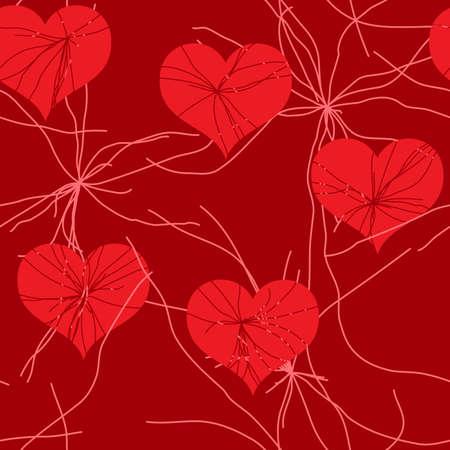 Día de San Valentín del Fondo de grunge rojo abstracto con corazones. Patrón transparente. Ilustración vectorial. Foto de archivo - 8493470