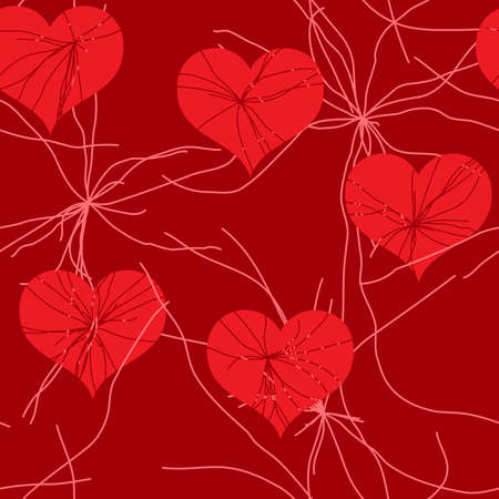 Valentines day abstract red grunge background with hearts. Seamless pattern. Vector illustration. Vector