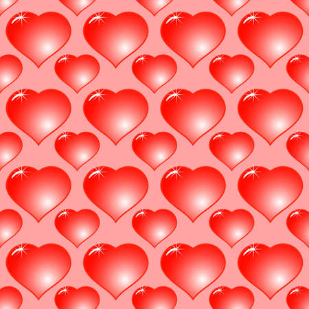 Valentine's day abstract red background with hearts. Seamless pattern. Vector illustration. Stock Vector - 8497975