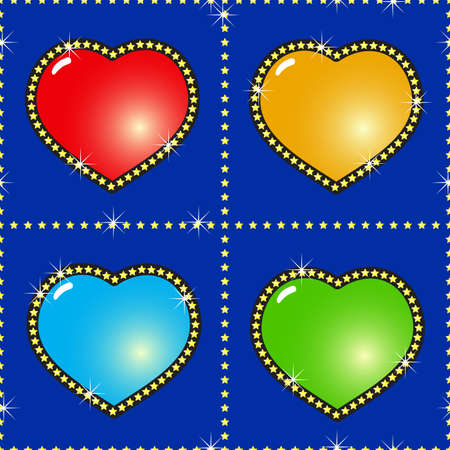 Valentines day dark-blue abstract background with glass multicolor hearts and golden stars. Seamless pattern. Vector illustration. Vector