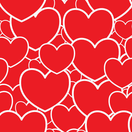 Día de San Valentín del fondo rojo abstracto con corazones. Patrón transparente. Ilustración vectorial. Foto de archivo - 8499909