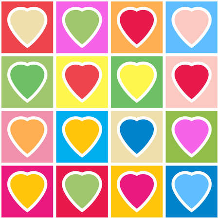 Valentines day abstract background with multicolor hearts on grid. Seamless pattern. Vector illustration. Vector