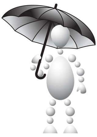 Man with black umbrella. Abstract 3d-human series from balls. Variant of white isolated on white background. A fully editable vector illustration for your design. Stock Vector - 8513899