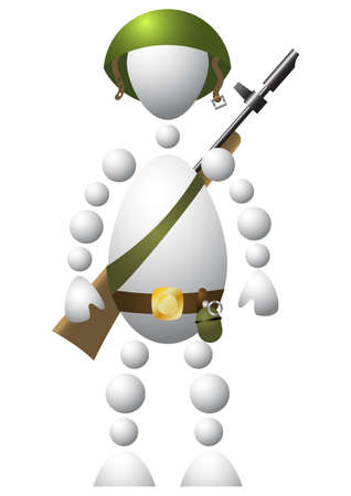Man as soldier in a helmet with a gun. Abstract 3d-human series from balls. Variant of white isolated on white background. A fully editable vector illustration for your design. Vector