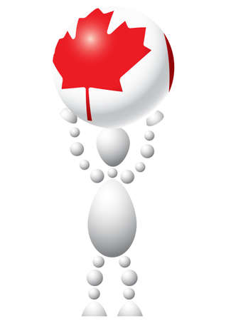 Man with ball as Canada flag. Abstract 3d-human series from balls. Variant of white isolated on white background. A fully editable vector illustration for your design. Stock Vector - 8513902