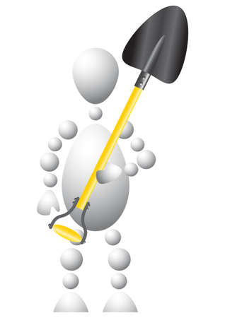 Man as worker with a big spade. Abstract 3d-human series from balls. Variant of white isolated on white background. A fully editable vector illustration for your design. Vector