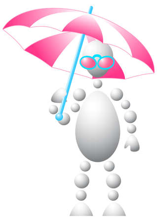 Man in pink sun-glasses with white-pink umbrella. Abstract 3d-human series from balls. Variant of white isolated on white background. A fully editable vector illustration for your design. Stock Vector - 8513900