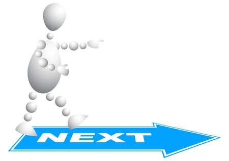 sig: Hombre va al paso siguiente. Serie de 3d-humanos abstracta de bolas. Variante de blanco aislado sobre fondo blanco. Una ilustraci�n vectorial completamente editable para su dise�o. Vectores