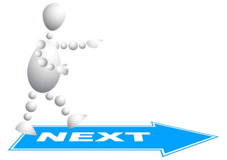 Man goes to the next step. Abstract 3d-human series from balls. Variant of white isolated on white background. A fully editable vector illustration for your design. Vector