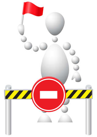 Man with the red flag does not allow the move. Abstract 3d-human series from balls. Variant of white isolated on white background. A fully editable vector illustration for your design. Stock Vector - 8513905