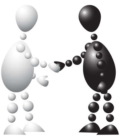 Black man and white man is shaking hands. Abstract 3d-human series from balls. Variant of colored isolated on white background. A fully editable vector illustration for your design. Vector