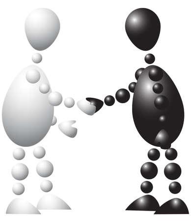respeto: Hombre de negro y blanco es estrechar la mano. Serie de 3d-humanos abstracta de bolas. Variante de color aislado sobre fondo blanco. Una ilustraci�n vectorial completamente editable para su dise�o.