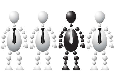 Group of a one black man and three a white mans in tie. Abstract 3d-human series from balls. Variant of colored isolated on white background. A fully editable vector illustration for your design. Stock Vector - 8513947