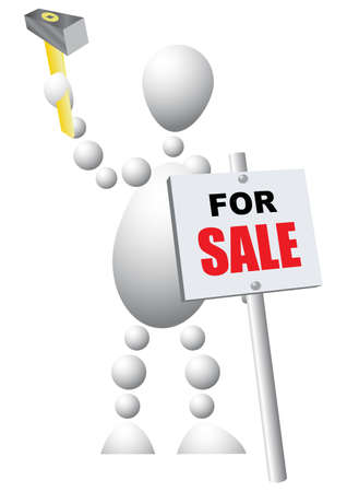 Man with a hammer mounts a sign announcing the sale of. Abstract 3d-human series from balls. Variant of white isolated on white background. A fully editable illustration for your design. Vector