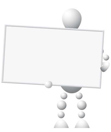 Man with empty board. Abstract 3d-human series from balls. Variant of white isolated on white background. Vector