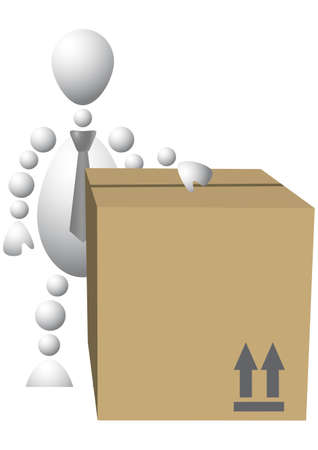 Man with brown cardboard box. Abstract 3d-human series from balls. Variant of white isolated on white background.   Vector