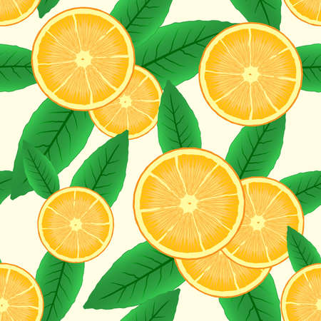 Abstract background with citrus-fruit of orange slices and green leaf. Seamless pattern.