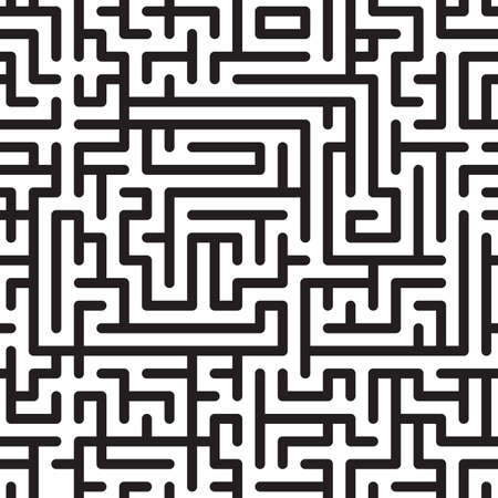 Black-and-white abstract background with complex maze. Seamless pattern.   illustration. Illustration