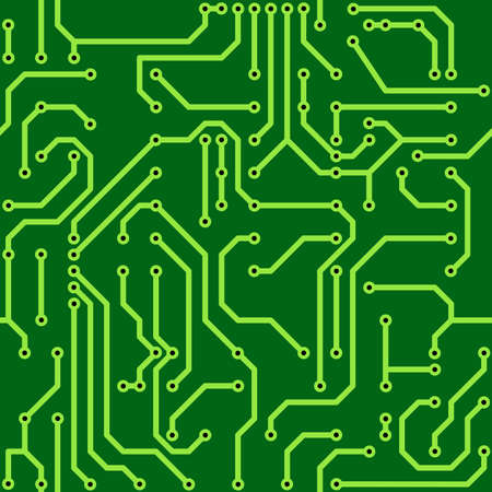 electronics parts: Abstract green background with conductor on computer circuit board.  illustration. Seamless pattern.
