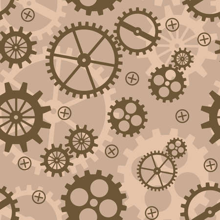 Abstract background with mechanism.  illustration. Seamless pattern.