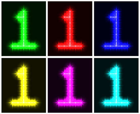 Motley set a glowing symbol of the number 1 on black background for your design illustration  illustration