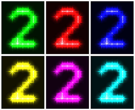 Motley set a glowing symbol of the number 2 on black background for your design  illustration.  illustration