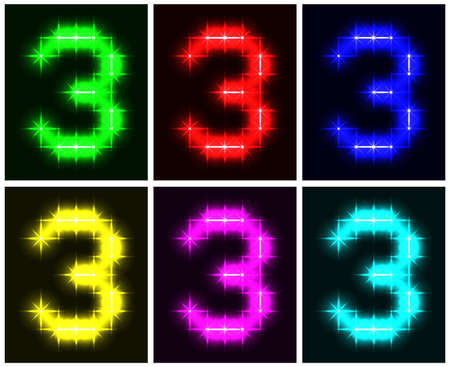 Motley set a glowing symbol of the number 3 on black background for your design.   illustration.   illustration