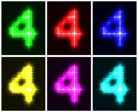 Motley set a glowing symbol of the number 4 on black background for your design.  illustration.  illustration