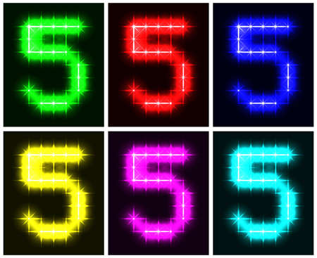Motley set a glowing symbol of the number 5 on black background for your design. illustration.  illustration